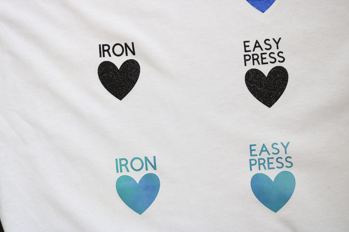 Comparison of application of heat transfer vinyl to a shirt using Cricut Easypress and an Iron.