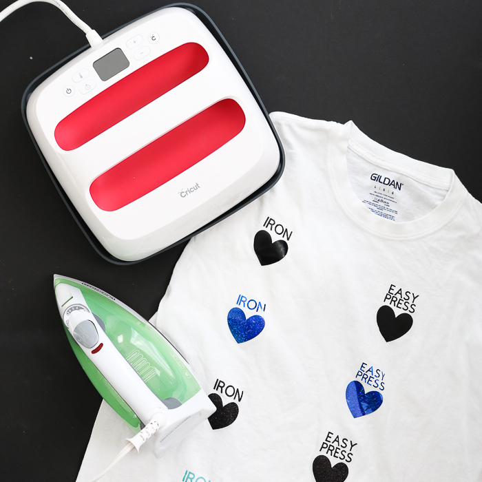 Tackling the Cricut EasyPress versus Iron debate - which one is better for your heat transfer vinyl projects? Comparison with a wide range of iron-on materials so you know which to buy and use for your craft projects! #cricut #cricutmade #ironon #iron