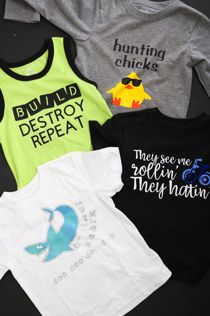 Great Cricut iron on vinyl instructions for making shirts of all types.