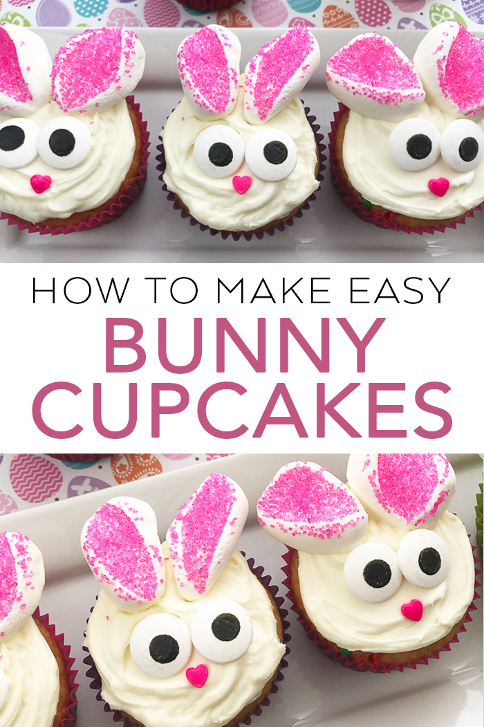 Make these easy bunny cupcakes in minutes for your Easter celebration! #easter #bunny #cupcakes