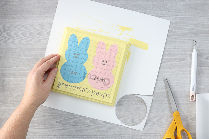 Transfer tape using to apply vinyl cut with a Cricut machine to make a DIY grandma gift.