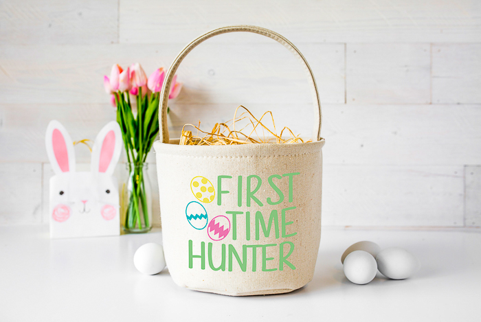 Cricut Easter projects with free SVG files including this cute Easter basket for the first time hunter.