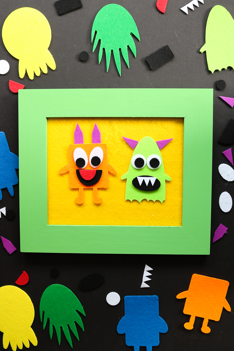Make a DIY felt story board with your Cricut or Silhouette and this free monster SVG file! Preschoolers will love playing with this DIY felt board! #kidscrafts #cricut #cricutmade #silhouette #svgfile #svg #freesvg #monsters