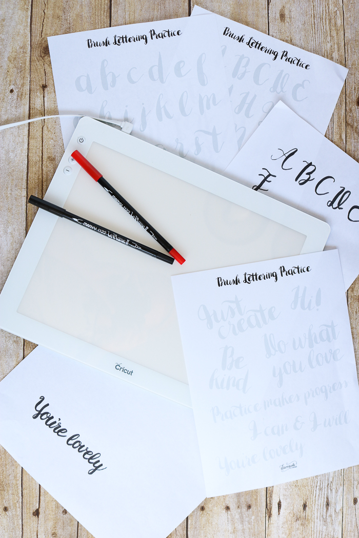 Hand lettering alphabet practice sheets and the Cricut BrightPad