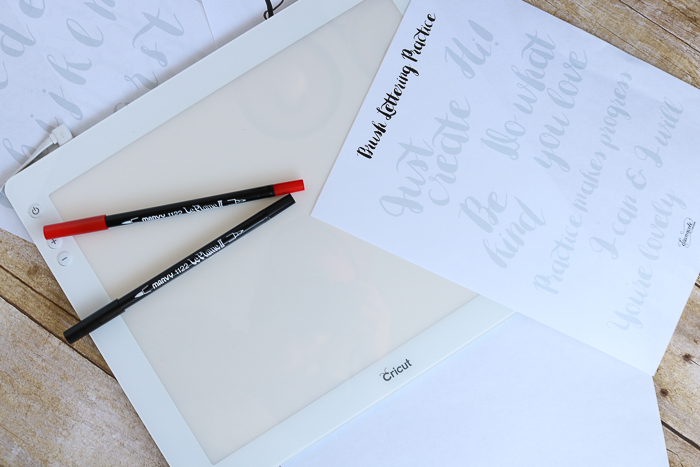 Using printable hand lettering practice sheets with the Cricut BrightPad