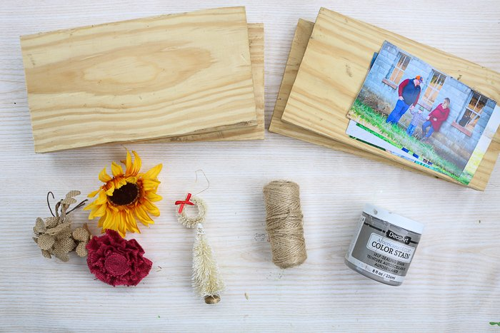 Supplies for making picture frames from scrap wood.