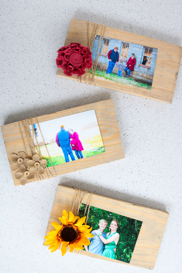 Burlap flowers, sunflowers, and more adorn these frames! Be sure to learn all about making picture frames today!