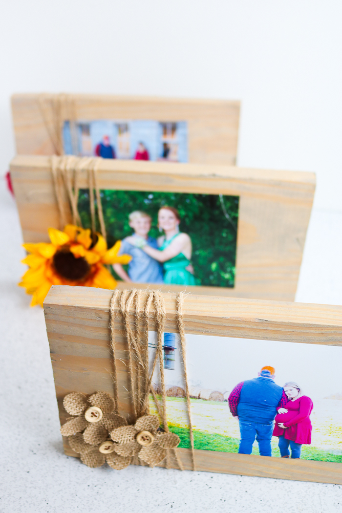Learn how to make a picture frame from scrap wood then add on some fun embellishments including burlap flowers and even sunflowers!