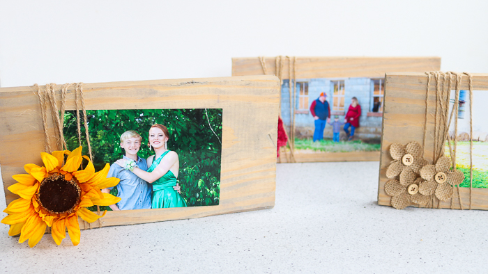 Make your own picture frame with this technique and some embellishments like burlap flowers and more!