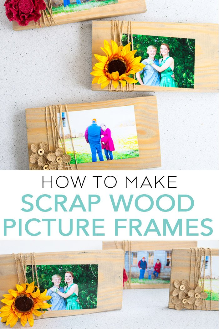 Learn how to make picture frames from scrap wood! A gorgeous rustic, farmhouse project that anyone can make! #rustic #farmhouse #pictureframe #burlap