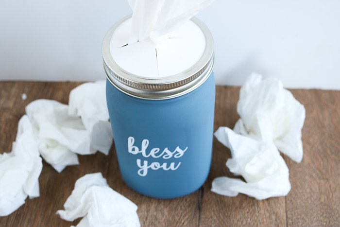 Making a tissue holder mason jar! Includes instructions for making a mason jar tissue holder lid from white card stock.