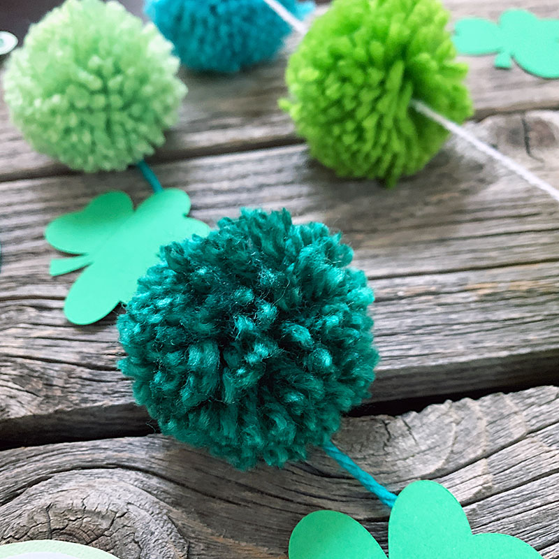 Green pom pom garland for Saint Patrick's Day