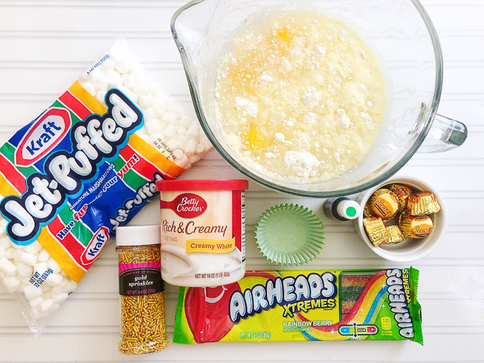Ingredients to make St. Patrick's Day cupcakes.
