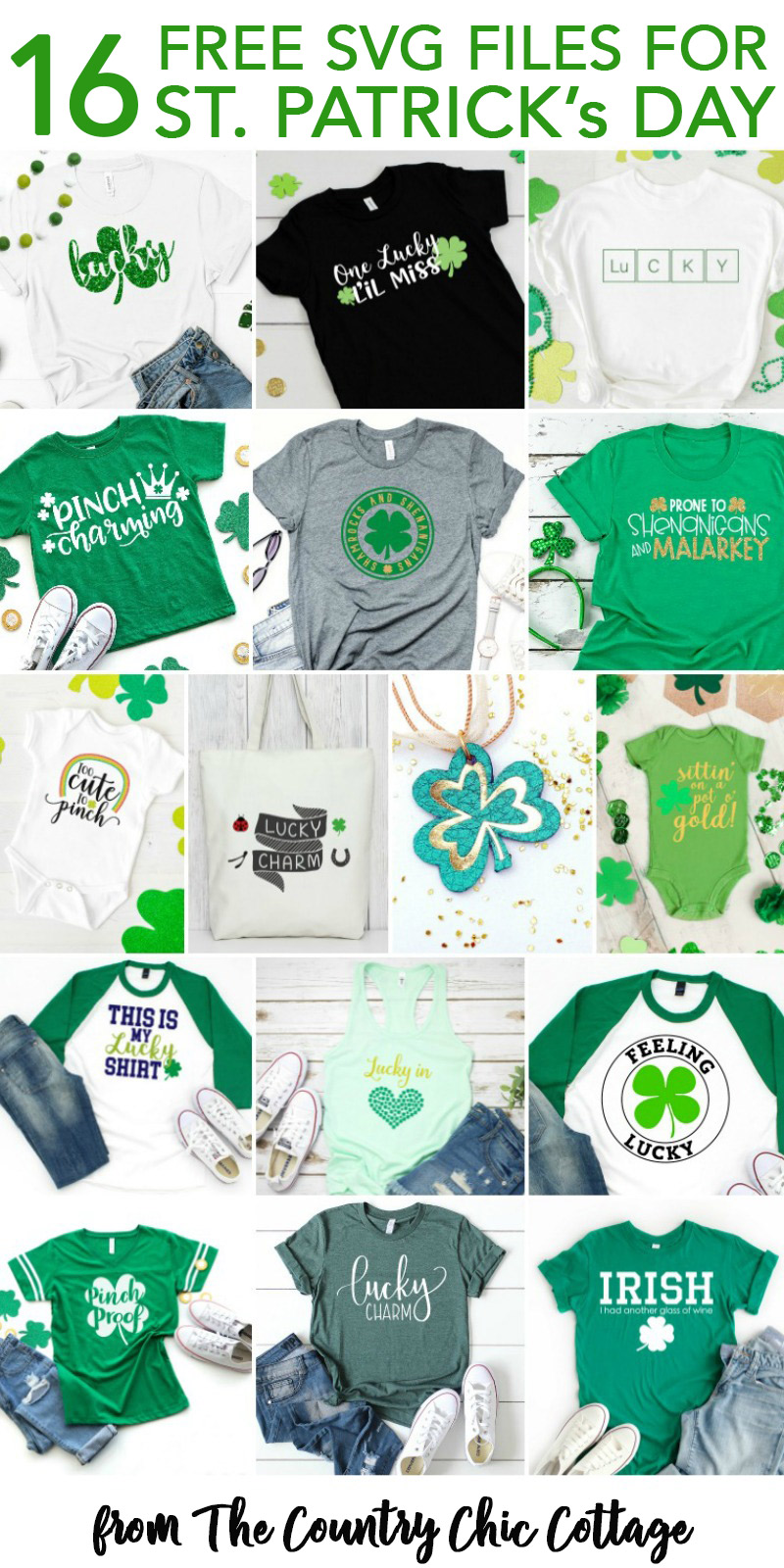 16 free St. Patrick's Day SVG files for you to use on all of your Cricut and Silhouette crafts! #cricut #cricutmade #silhouette #svg #svgfile #freesvgfile #freesvg