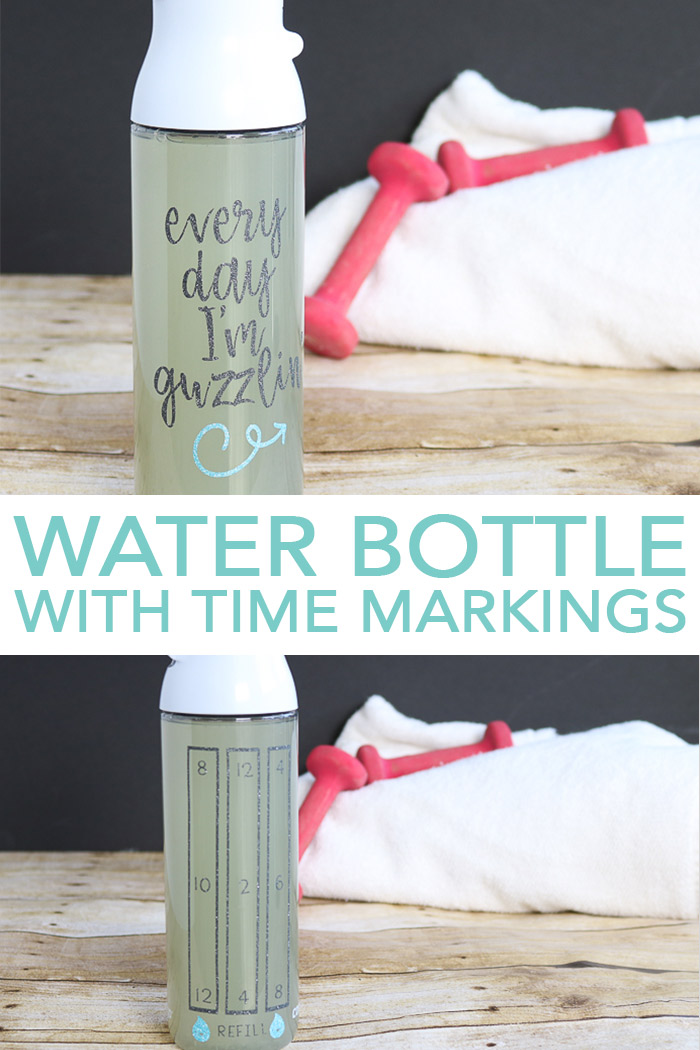 Make a water bottle with time markings with your Cricut machine! Includes the cut file for glitter vinyl! #cricut #cricutmade #water #healthy
