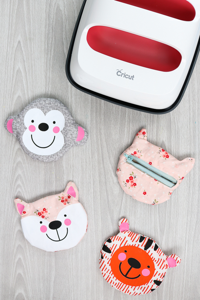 Using the Cricut EasyPress and Cricut Maker to make a small zipper pouch in an animal shape.