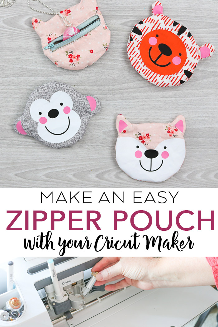 Make a small zipper pouch shaped like an animal with your Cricut Maker! Cut files included as well as a video to show you how to make them! #cricut #cricutmade #cricutmaker