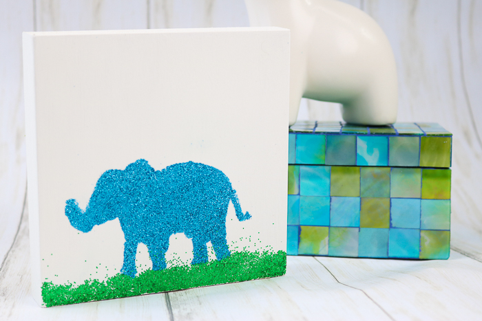 The best glue for glitter is Mod Podge Ultra. Here we are using it to create some glitter art with an elephant!