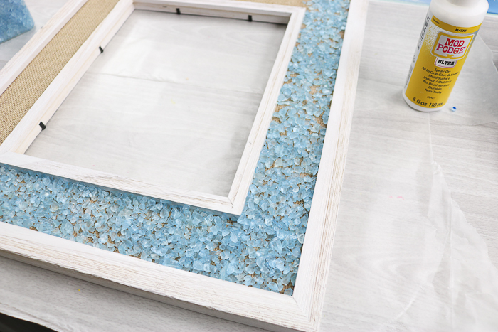 Adhering glass chips to a frame with Mod Podge Ultra