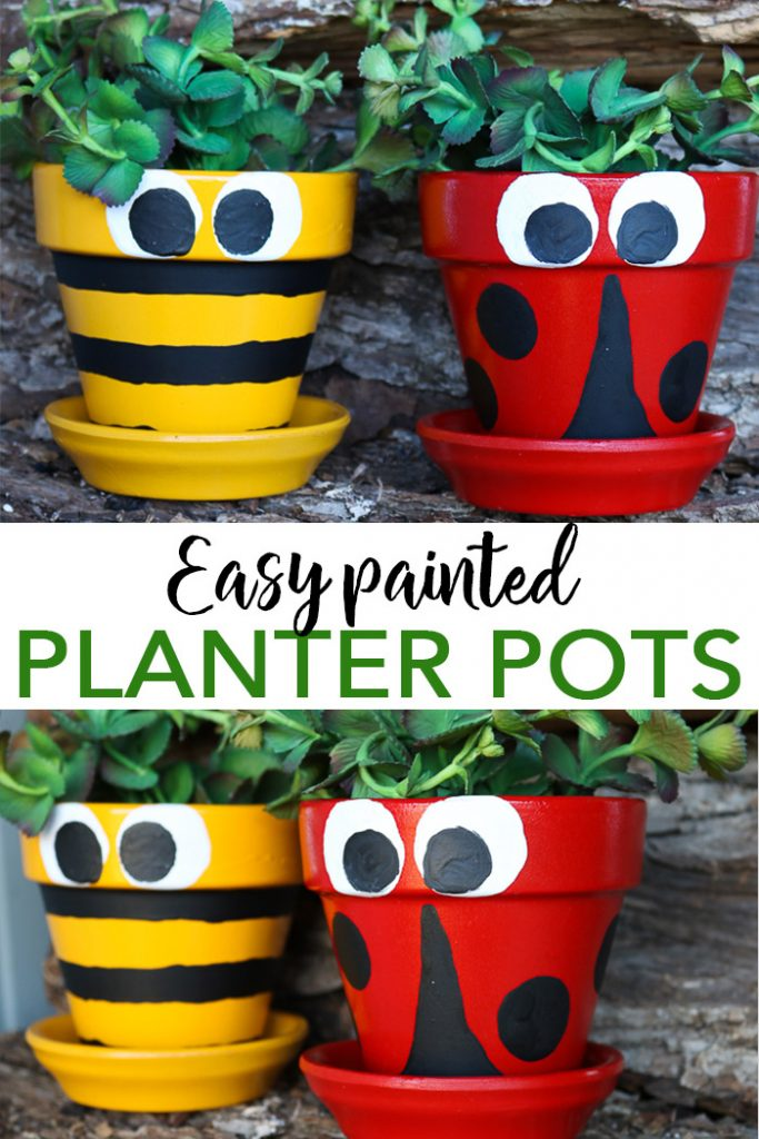 Pot decoration ideas that are super simple and easy to make! Paint your clay pots like a ladybug or a bee with these step by step instructions! #testors #testorscrafternoons #ladybug #bee #claypots #garden #gardening