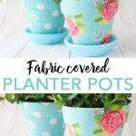 Make fabric plant pots with Mod Podge Ultra. Learn all about covering plant pots with fabric for your spring decor! These are okay for indoor or outdoor use! #modpodge #plaidcrafts #spring #plants #garden #gardening