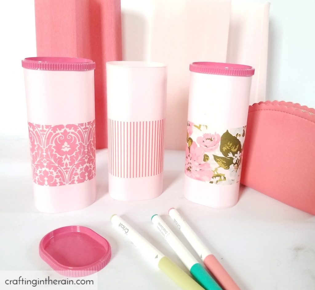 decoupage crystal light containers