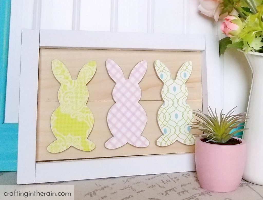 Make this decoupage framed bunny art