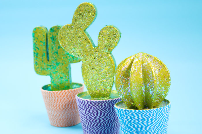 Easy DIY cactus that includes how to add extreme glitter to paper mache.