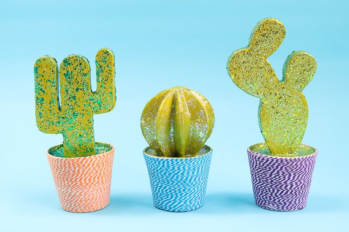 Cactus home decor with paper mache and glitter!