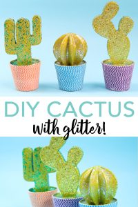 Make a DIY cactus with glitter in minutes with this easy to follow tutorial! A cute cactus has never been easier to make yourself! #cactus #diy #glitter #modpodge #plaidcrafts