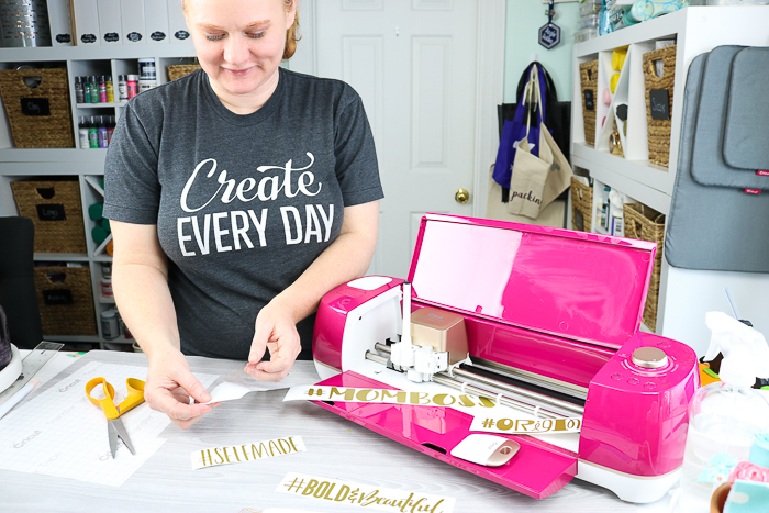 Cricut Wildrose Explore Air 2 bundle with pre-cut vinyl hashtags