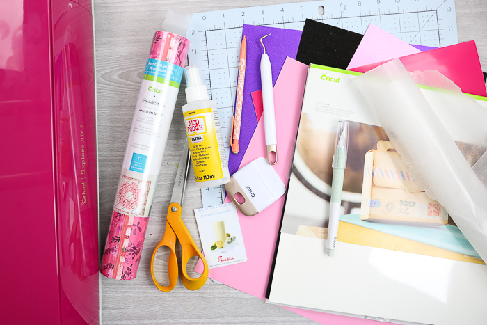 Materials needed to make DIY letter board accessories with your Cricut machine.