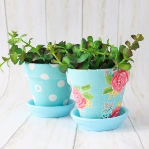 How to make fabric plant pots with Mod Podge Ultra.