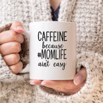 Momlife free SVG on a coffee mug for Mother's Day.
