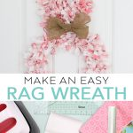 Learn how to make a rag wreath that looks like an Easter bunny with Cricut hand tools! #cricut #cricutmade #easter #bunny #spring #wreath
