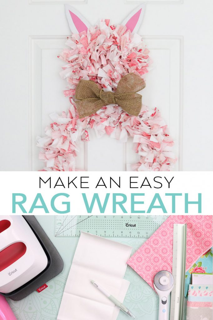 Learn how to make a rag wreath that looks like an Easter bunny with Cricut hand tools! #cricut #cricutmade #easter #bunny #spring #wreath