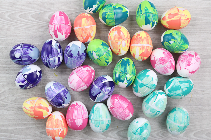 Marbled paint Easter eggs in various colors ready to add to a wreath.