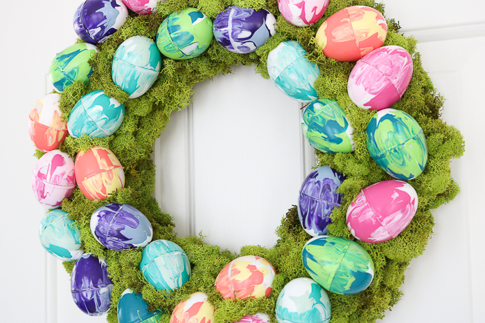Easter wreath with eggs.