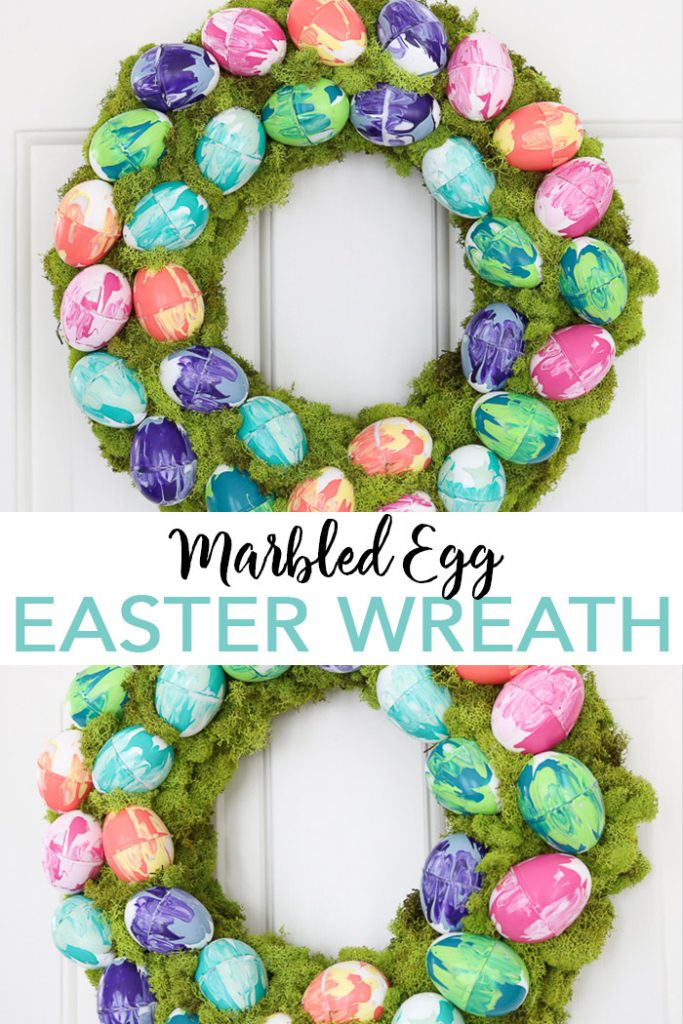 Learn how to make marbled eggs for an Easter wreath! This easy project will look amazing on your front door this spring! #easter #easterwreath #eastereggs