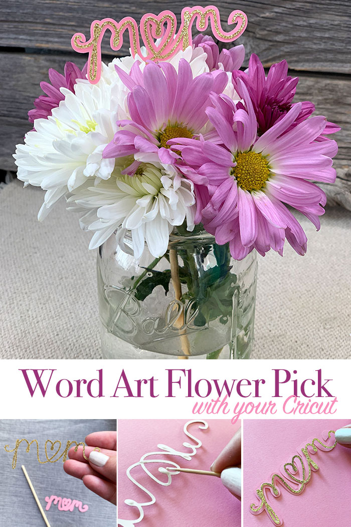 Make this DIY mom word art and add to flowers in a mason jar for a great Mother's Day gift that is easy to make!