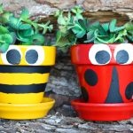 Decoration ideas for pots including how to paint to look like a bee and ladybug.