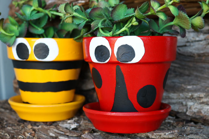 Flower pot decoration ideas using paint including a ladybug and a bee for spring!