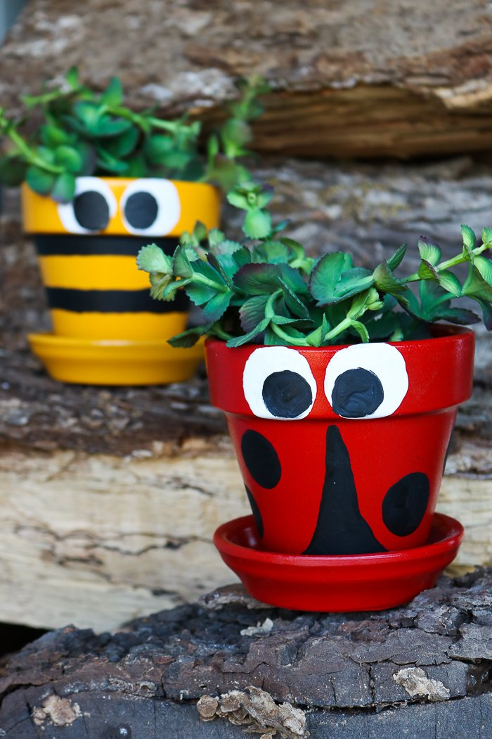 Spring pot decoration ideas that are easy to paint! Includes a video how-to with step by step instructions!