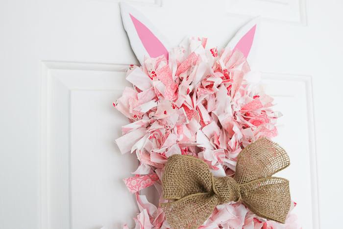 Rag wreath tutorial to make an Easter bunny wreath.