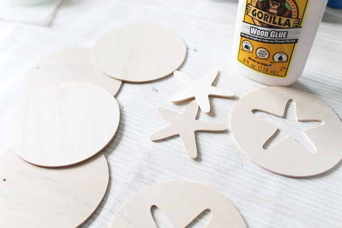 Wood pieces cut with the Cricut Maker to make coasters DIY wood