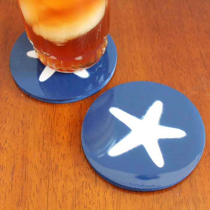 Starfish coasters made with the Cricut Maker