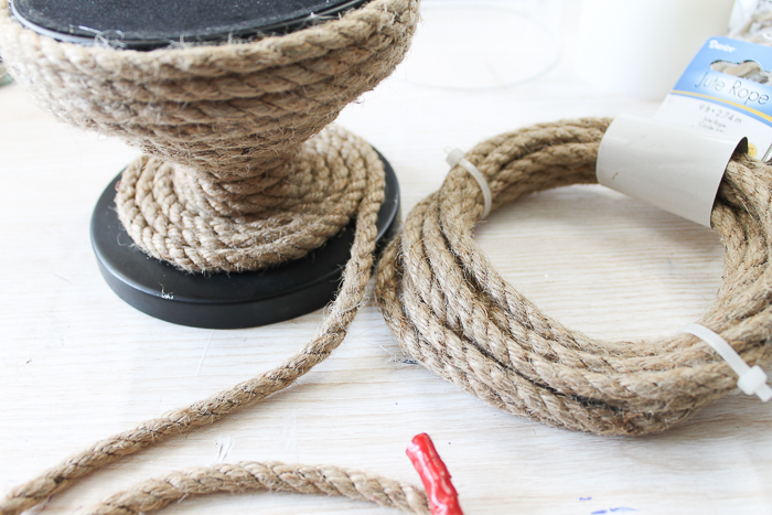 beach decor ideas DIY using rope to wrap around a candle holder