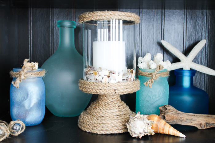 DIY beach room decor using rope and a plain candle holder