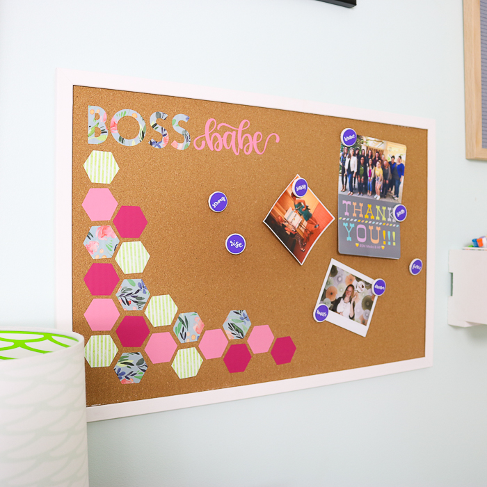 how to add heat transfer vinyl to a cork board