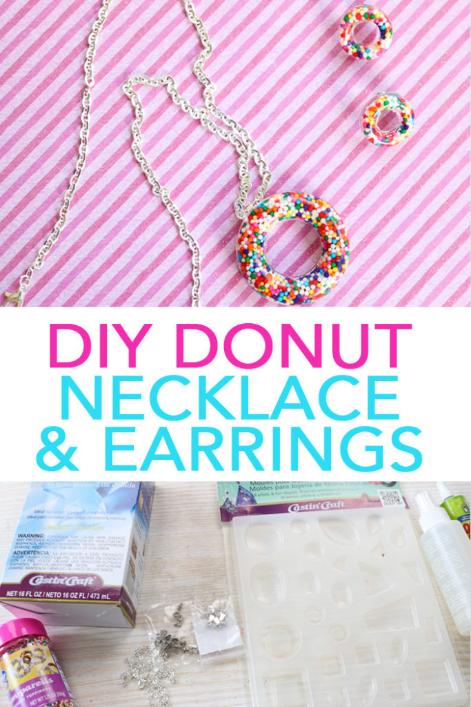 Make this donut necklace and earrings in minutes with resin! A quick and easy project that teens and tweens will love! #jewelry #donut #handmade